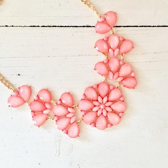 Jewelry pink flower statement necklace poshmark pink flower statement necklace mightylinksfo